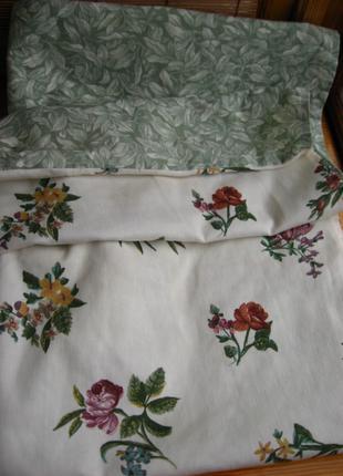 Накидка на стул хлопковая двойная белая, принт листья цветы, торг
