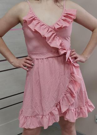 Сарафан розовый в горошек с воланами