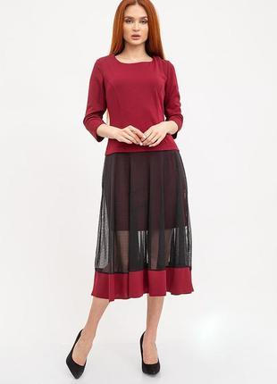 Платье женское цвет бордовый с сеткой