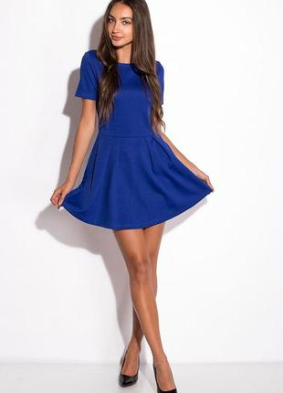 Синее платье электрик короткое