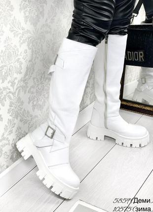 💥 тренд сезона сапоги белые кожаные на массивной подошве