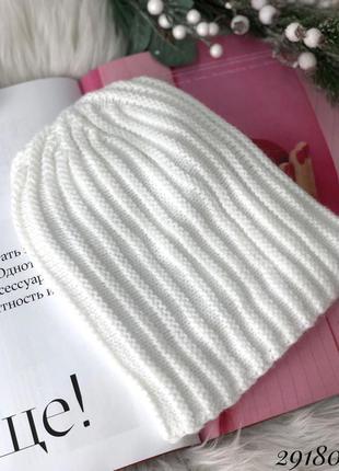 💥 белая вязаная шапка шерстяная