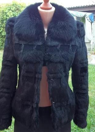 S - 42 / 44 р шуба куртка из кролика воротник песец осень весна