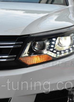 Передние фары Led тюнинг оптика VW Tiguan 12-16 ксенон