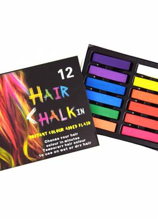 Набор мелков для волос, Мелки для окрашивания волос, 12 цветов