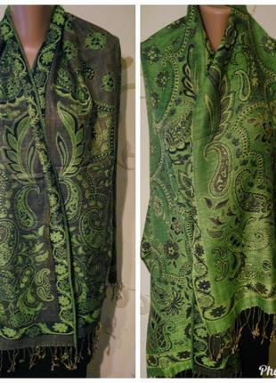 55% пашмина 45% шелк красивый шарф шаль палантин . 177х67 см п...