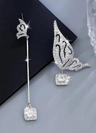 Шикарные асимметричные серьги мини бабочки, покрытие серебро 9...