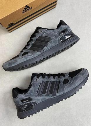 Мужские замшевые кроссовки adidas zx 750 black /dark grey черн...