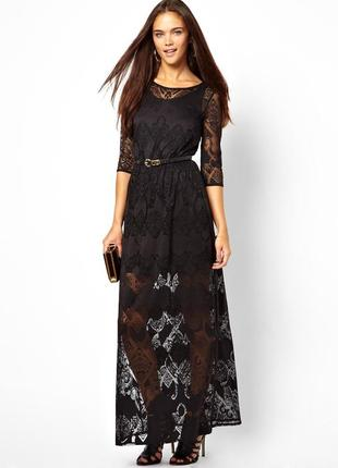 Роскошное длинное чёрное кружевное платье в пол