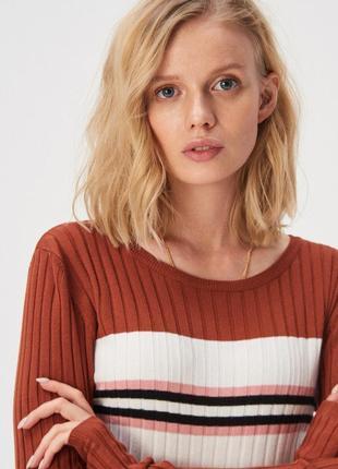 Новая облегающая коричневая кофта свитер польша розовые белые ...