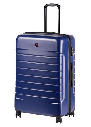 Большой функциональный синий чемодан на 4-х колесах wenger