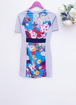 Шикарное платье шелковое комбинированое платье маленький размер