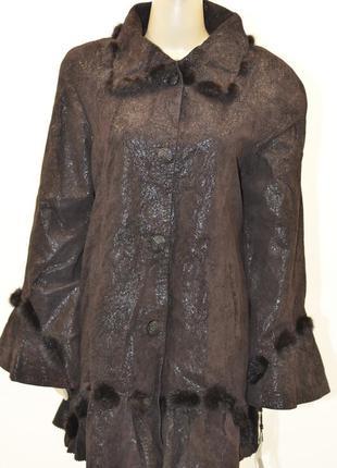 Куртка весна-осень, натуральная кожа, норка до 60р.