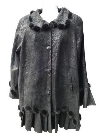 Куртка весна-осень, натуральная кожа/норка до 60р.