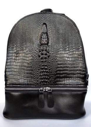 """Женский кожаный рюкзак """"dark salamandra"""" черный"""