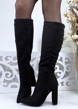 Замшевые осенние сапоги на высоком каблуке с острым носком с у...