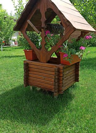 Декоративный деревянный колодец мельница декор сада