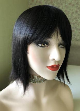 Натуральный парик натуральный парик чёрный волос каре с чёлкой