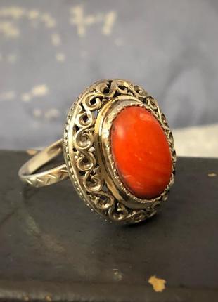 Кольцо перстень соетское серебро 925 пробы ссср, коралл