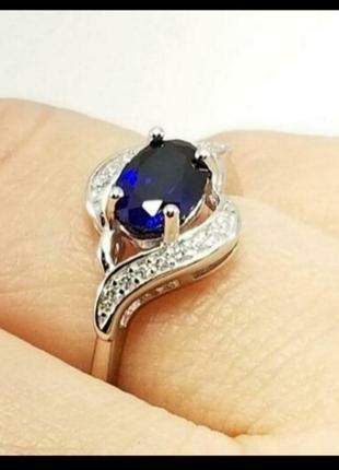 Серебряное кольцо с искусственным сапфиром