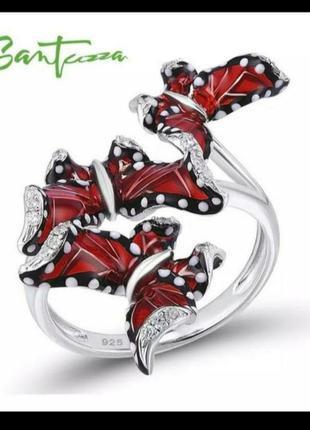 Серебряное кольцо с эмалью бабочки