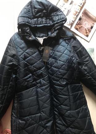 Тёплое пальто на зиму с норкой, длинная куртка 66 размер