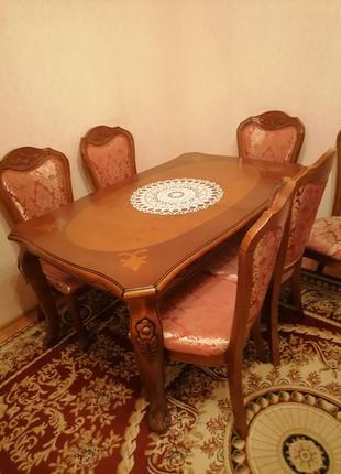 Стол  и  6 стульев , дерево ,  производство Малайзия.
