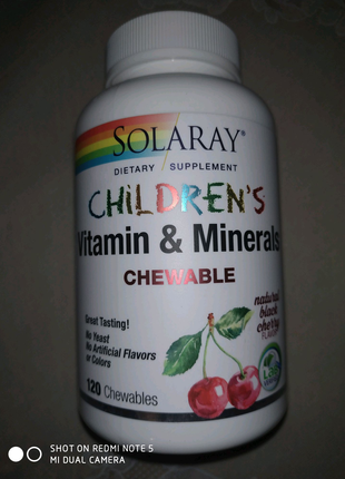 Детские жевательные витамины и минералы, Solaray, 120 шт, США
