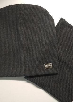 Комплект шапка и хомут рубчик 54-57 см от 7 лет