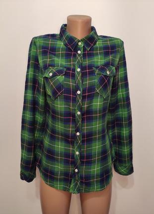 Divided зелёная байковая рубашка в клетку