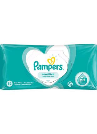 Детские влажные салфетки Pampers Sensitive, 52 шт