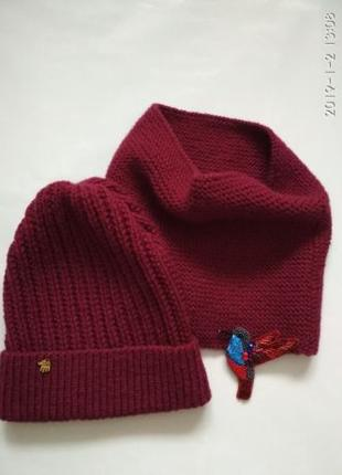 Вязаный комплект (шапка и снуд)