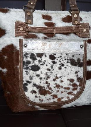 Эксклюзивная  большая сумка натуральная кожа + натуральный мех...