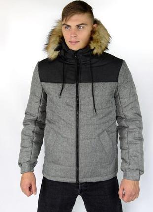 """Куртка зимняя мужская серая черная синяя """"Аляска"""" с мехом + пе..."""