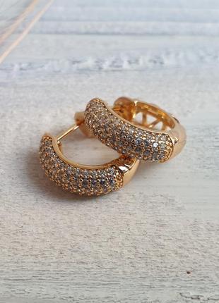 Серьги с камнями xuping, позолота 18к, медицинское золото, биж...