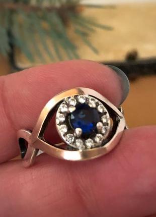 Кольцо серебро 925 проба сапфир