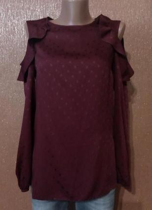 Блузка с рюшами открытыми плечами длинный рукав размер 6 f&f