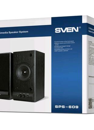 Колонки 2.0 SVEN SPS-609,активные,со встроенным усилителем черные