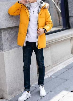 Куртка пуховая горчичная (жёлтая) женская/мужская унисекс