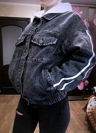Шикарная стильная .джинсовка ..джинсовая куртка с капюшоном в ...