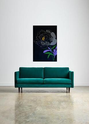 Картина Пион с полосками, 60х90 см, масло, живопись