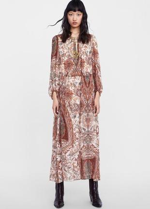 Длинное платье в принт от zara