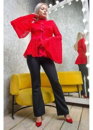 Гипюровая блузка с широкими рукавами