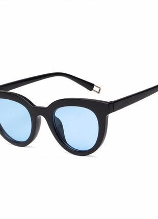 Трендовые черные глянцевые очки голубые линзы новинка унисекс