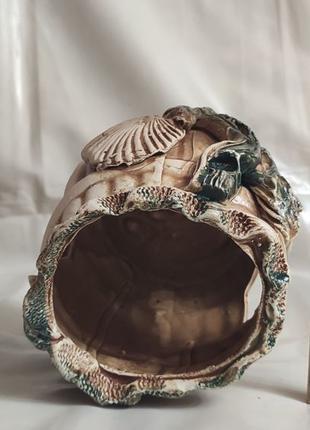 Декорация для аквариума, бочка, домик, островок для черепахи