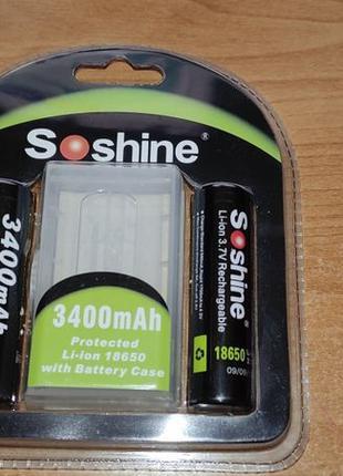 Аккумулятор Soshine 18650 3.7v 3400mah Li-ion с контроллером