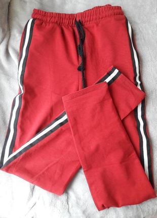 Спортивные штаны на высокой талии с лампасами