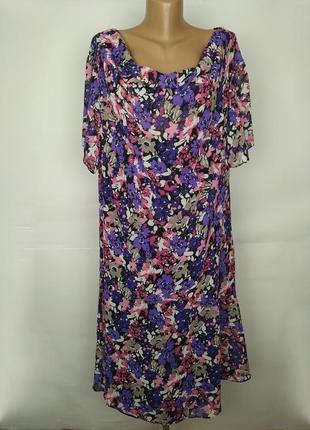 Платье шифоновое в цветочный принт большого размера uk 22/50/4xl