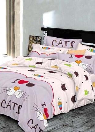 """Детское постельное белье для девочки из ранфорса""""котики"""""""