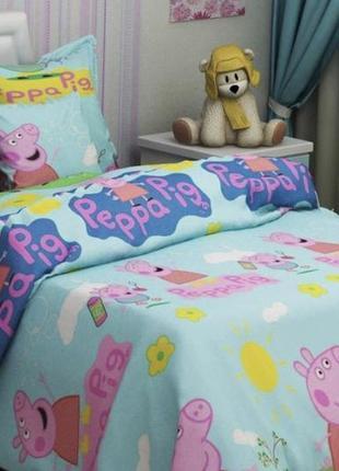 """Детское постельное белье для девочки из ранфорса""""свинка пеппа"""""""